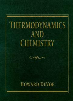 Couverture de l'ouvrage Thermodynamics and chemistry