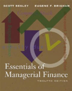 Couverture de l'ouvrage Essentials of managerial finance. (12° Ed. Bound)