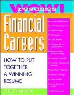 Couverture de l'ouvrage Wow! resumes for financial careers (paper)