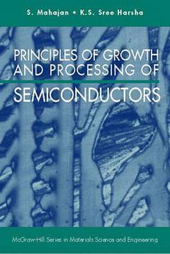 Couverture de l'ouvrage Principles of growth and processing of semiconductors