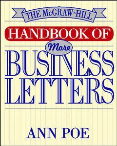 Couverture de l'ouvrage The McGraw Hill handbook of more business letters (paper)