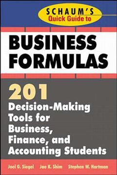 Couverture de l'ouvrage Schaum's quick guide to business finance a key to formulae & tables for business decision