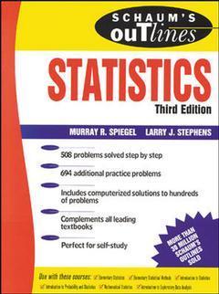 Couverture de l'ouvrage Statistics (3rd ed' 98) (Schaum's outline series) paper