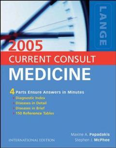 Couverture de l'ouvrage Current consult medicine 2005