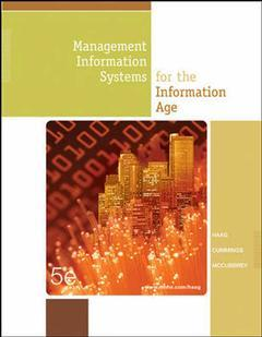 Couverture de l'ouvrage Management information systems for the information age with cd and olc (5th ed )