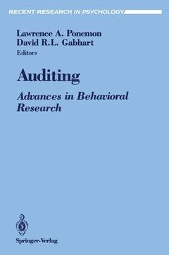 Couverture de l'ouvrage Auditing advances in behavioral research recent research in psychology
