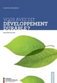 Couverture de l'ouvrage Vous avez dit développement durable ?