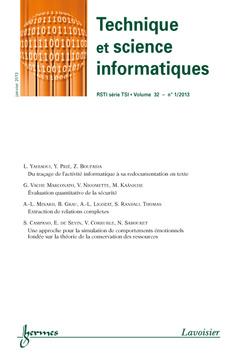 Couverture de l'ouvrage Technique et science informatiques RSTI série TSI Volume 32 N° 1/Janvier 2013