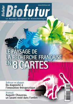 Couverture de l'ouvrage Biofutur N° 342 : Le paysage de la recherche française en 8 cartes (Avril 2013)