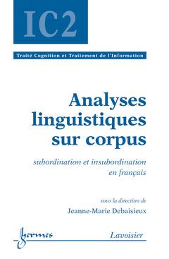 Couverture de l'ouvrage Analyses linguistiques sur corpus