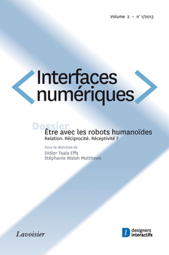 Couverture de l'ouvrage Interfaces numériques Volume 2 N° 1/Janvier-Avril 2013