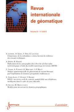 Couverture de l'ouvrage Revue internationale de géomatique Volume 23 N° 2/Avril-Juin 2013