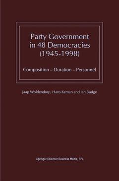 Cover of the book Party Government in 48 Democracies (1945-1998)