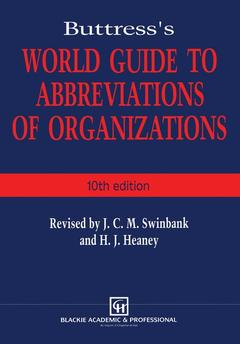 Couverture de l'ouvrage Buttress's world guide to abbreviations of organizations - 10th edition