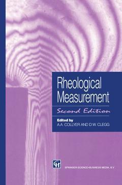 Couverture de l'ouvrage Rheological measurement (2nd ed' 98)