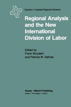 Couverture de l'ouvrage Regional analysis and the new internatio nal division of labour