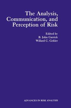 Cover of the book Analysis communication and perception of risk (vol 9 in advances in risk analysis California oct. 29 nov. 1 1989)