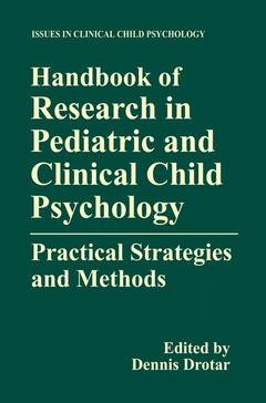 Couverture de l'ouvrage Handbook of research methods in pediatric and clinical child psychology