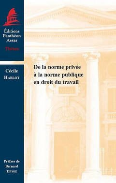 Couverture de l'ouvrage De la norme privée à la norme publique en droit du travail