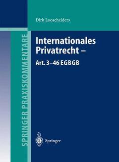 Couverture de l'ouvrage Internationales Privatrecht — Art. 3-46 EGBGB