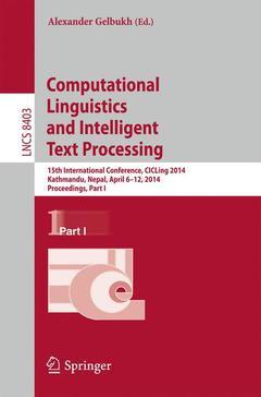 Couverture de l'ouvrage Computational Linguistics and Intelligent Text Processing