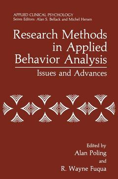 Couverture de l'ouvrage Research methods in applied behavior analysis
