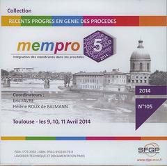 Couverture de l'ouvrage MEMPRO 5 (Toulouse, 9, 10, 11 avril 2014)