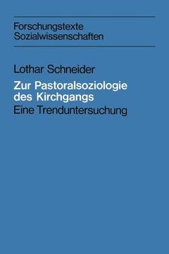Cover of the book Zur Pastoralsoziologie des Kirchgangs