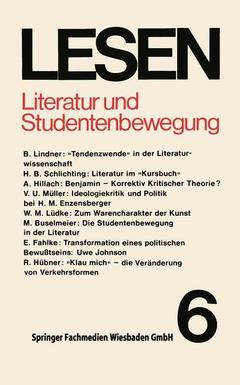 Couverture de l'ouvrage Literatur und Studentenbewegung