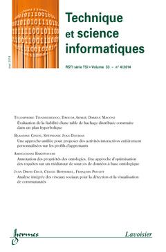 Couverture de l'ouvrage Technique et science informatique RSTI série TSI Volume 33 N° 4/Mai 2014