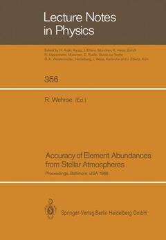 Couverture de l'ouvrage Accuracy of element abundances from stellar atmospheres (Proc., Baltimore, August 1988) (Lecture notes in physics Volume 356)