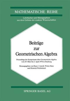 Couverture de l'ouvrage Beiträge zur Geometrischen Algebra