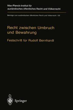 Couverture de l'ouvrage Recht zwischen Umbruch und Bewahrung