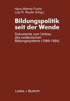 Couverture de l'ouvrage Bildungspolitik seit der Wende