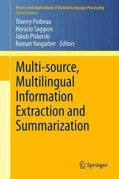 Couverture de l'ouvrage Multi-source, multilingual information extraction and summarization