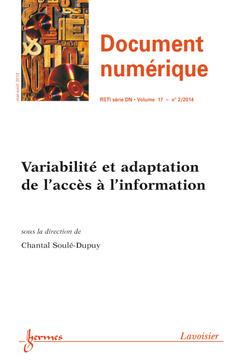 Couverture de l'ouvrage Document numérique RSTI série DN Volume 17 N° 2/Mai-Août 2014