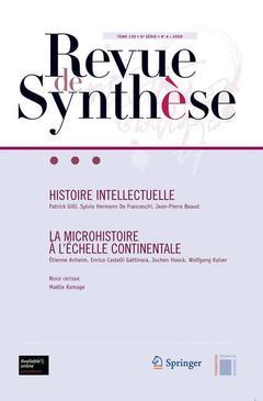 Couverture de l'ouvrage Histoire intellectuelle - La microhistoire à l' échelle continentale