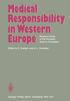 Couverture de l'ouvrage Medical Responsibility in Western Europe