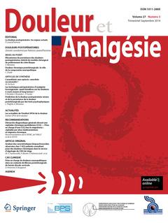 Couverture de l'ouvrage Douleur et Analgésie Vol. 27 N°3 - Septembre 2014
