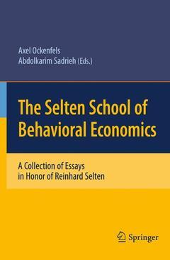 Couverture de l'ouvrage The Selten School of Behavioral Economics