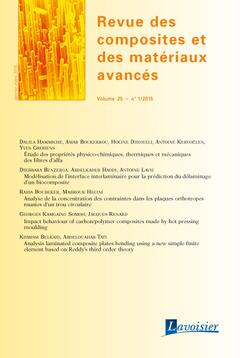 Couverture de l'ouvrage Revue des composites et des matériaux avancés Volume 25 N°1/Janvier-Mars 2015
