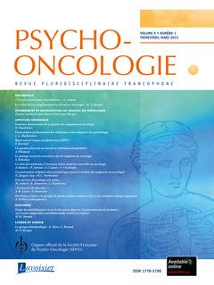 Couverture de l'ouvrage Psycho-Oncologie Vol. 9 N° 1 - mars 2015