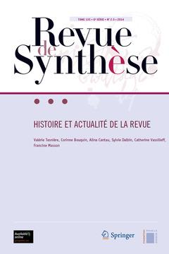 Couverture de l'ouvrage Revue de Synthèse Tome 135 - 6e Série - N° 2-3 -2014