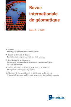 Couverture de l'ouvrage Revue internationale de géomatique Volume 25 N° 2/Avril-Juin 2015
