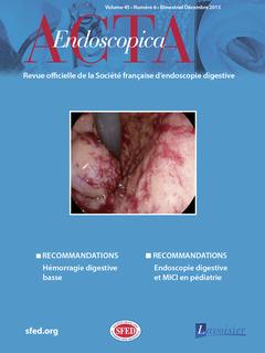 Couverture de l'ouvrage Acta Endoscopica Vol. 45 N° 6 - Décembre 2015