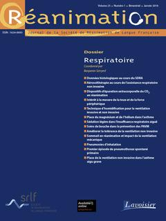 Couverture de l'ouvrage Réanimation Vol. 25 N°1 - janvier 2016