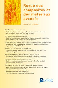 Couverture de l'ouvrage Revue des composites et des matériaux avancés Volume 25 N° 3-4/Juillet-Décembre 2015