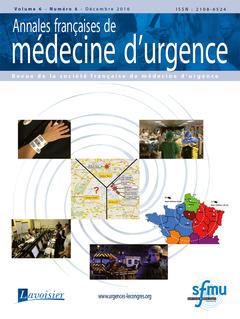 Couverture de l'ouvrage Annales françaises de médecine d'urgence Vol. 6 n°6 - Novembre-Décembre 2016