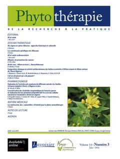 Couverture de l'ouvrage Phytothérapie. Vol. 14 N°3 - Juin 2016