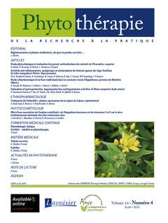 Couverture de l'ouvrage Phytothérapie. Vol. 14 N°4 - Août 2016